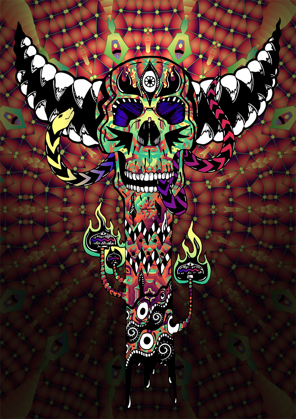 Skull Totem - Psychedelic T-shirt design by Andrei Verner - all over print design