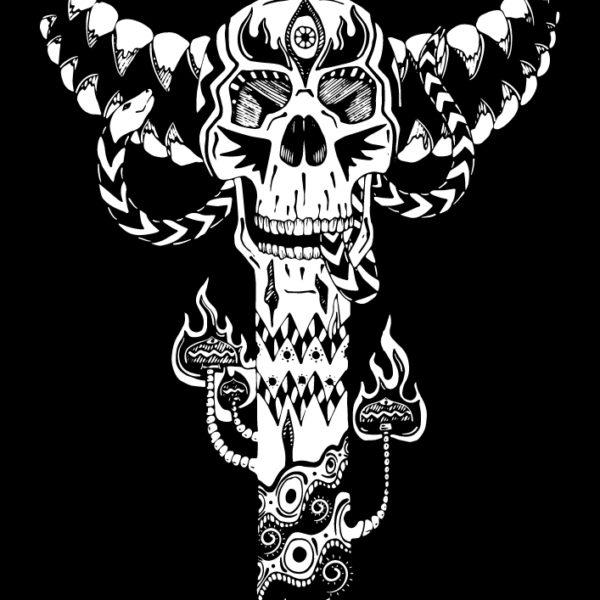 Bone Totem - Isolated Design on Black background