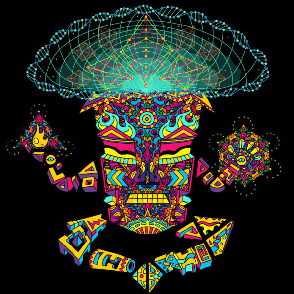 Golden Teacher Mushroom God Trippy Psychedelic Art T-shirt
