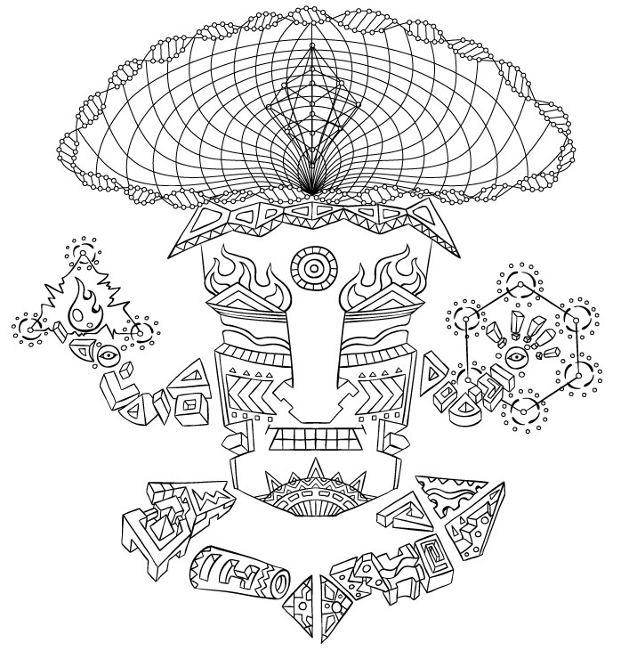 Magic Mushroom God character vector line-work