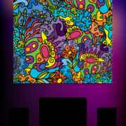 Abstract Jungle Ornament Psychedelic Fluorescent Backdrop