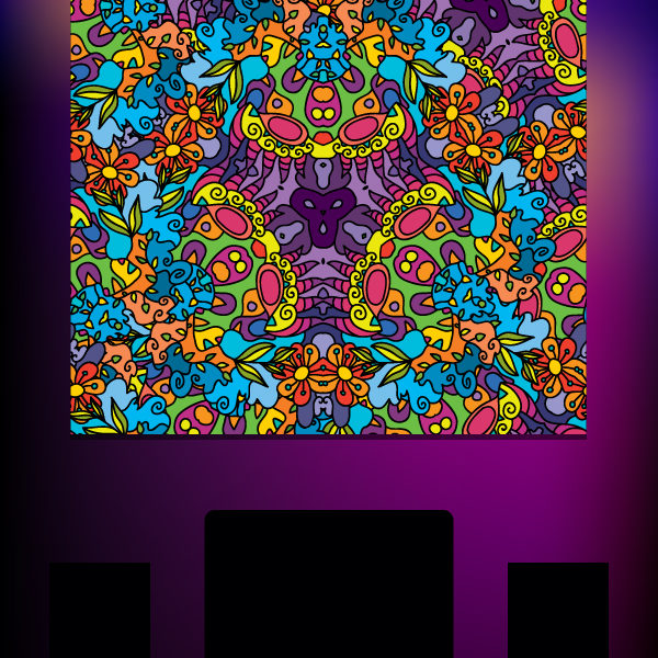 Floral Jungle Ornament Psychedelic Fluorescent Backdrop