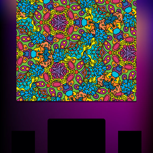 Acid Flowers Psychedelic Fluorescent Backdrop