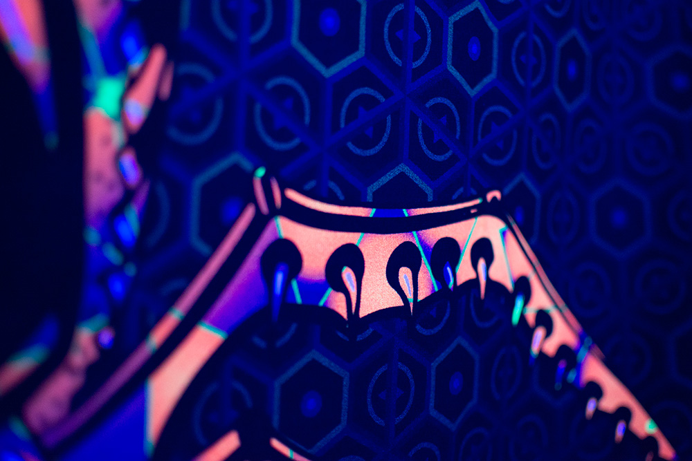 Magic Alien Totem - Psychedelic Fluorescent UV-reactive Backdrop Detail by Andrei Verner