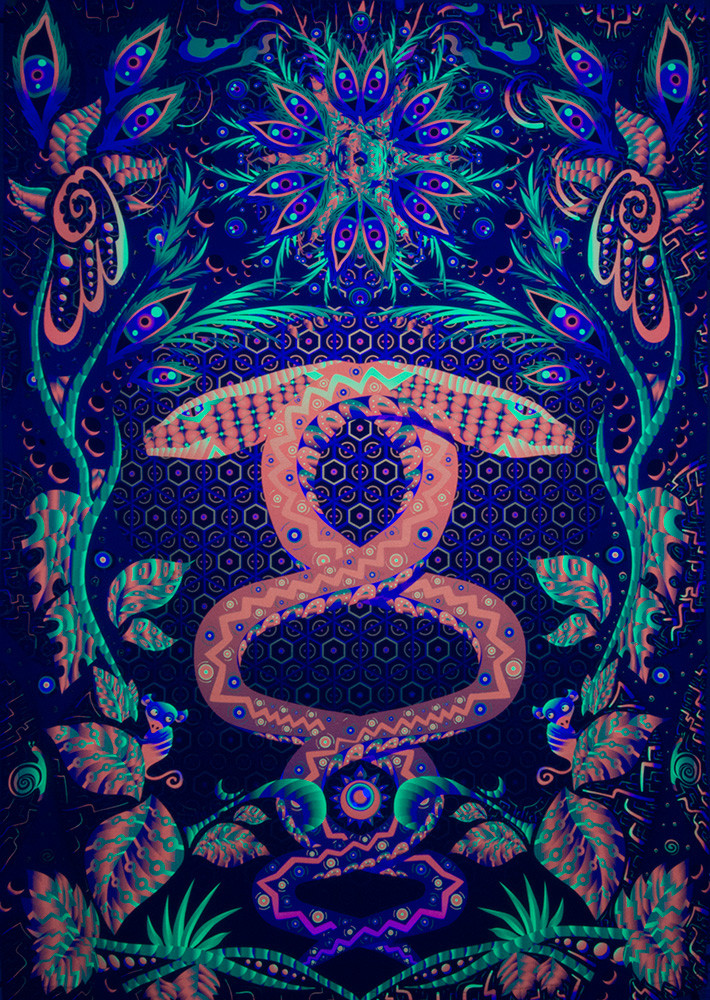 Jungle Snake - Psychedelic Fluorescent UV-reactive Backdrop by Andrei Verner
