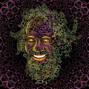 Sasha Shulgin Portrait Psychedelic Fluorescent Backdrop