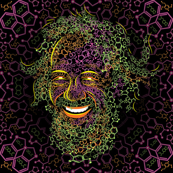 Sasha Shulgin Portrait Psychedelic Fluorescent Backdrop Design