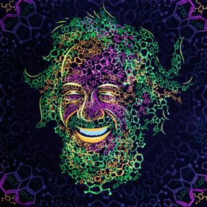 Sasha Shulgin Portrait Psychedelic Fluorescent Backdrop Photo in UV light