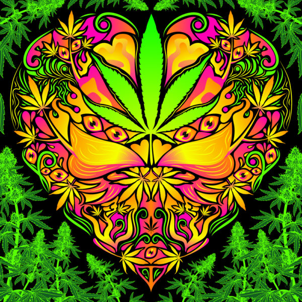 Cannabis Love Psychedelic Fluorescent Backdrop