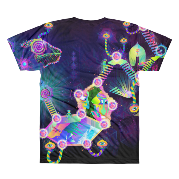 Psilocybin Molecule World Psychedelic All-Over-Print T-shirt Back