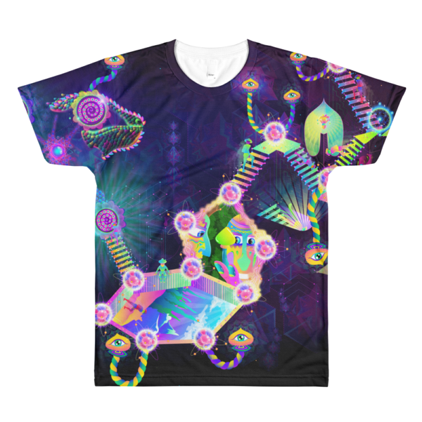 Psilocybin Molecule World Psychedelic All-Over-Print T-shirt Front