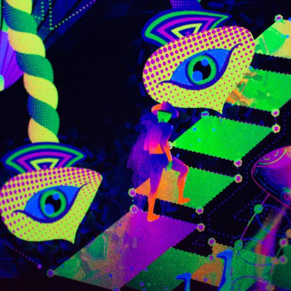 Psilocybin World Psychedelic UV-reactive Design Detail Photo in UV Light