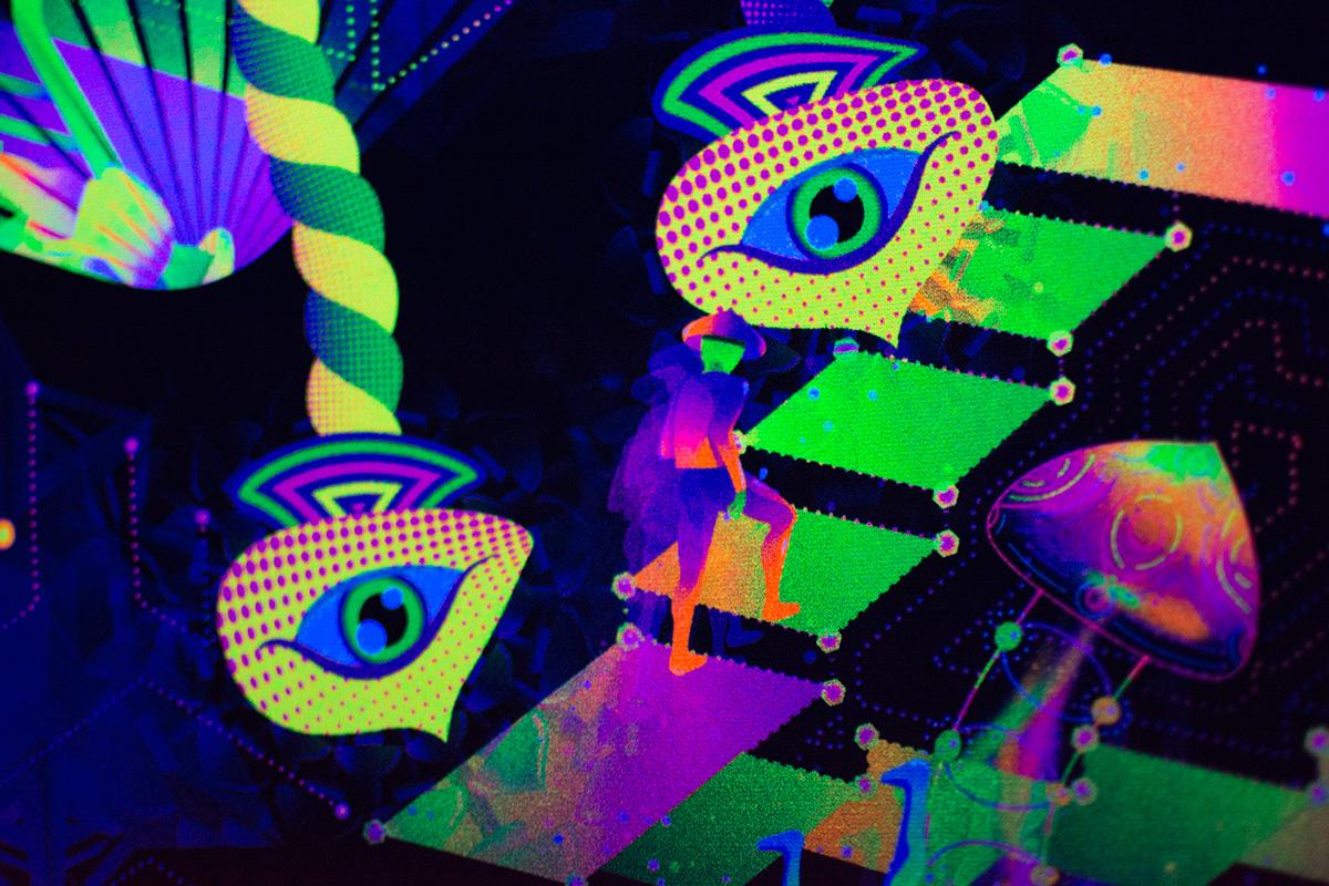 Psilocybin World Fluorescent Backdrop Photo in UV
