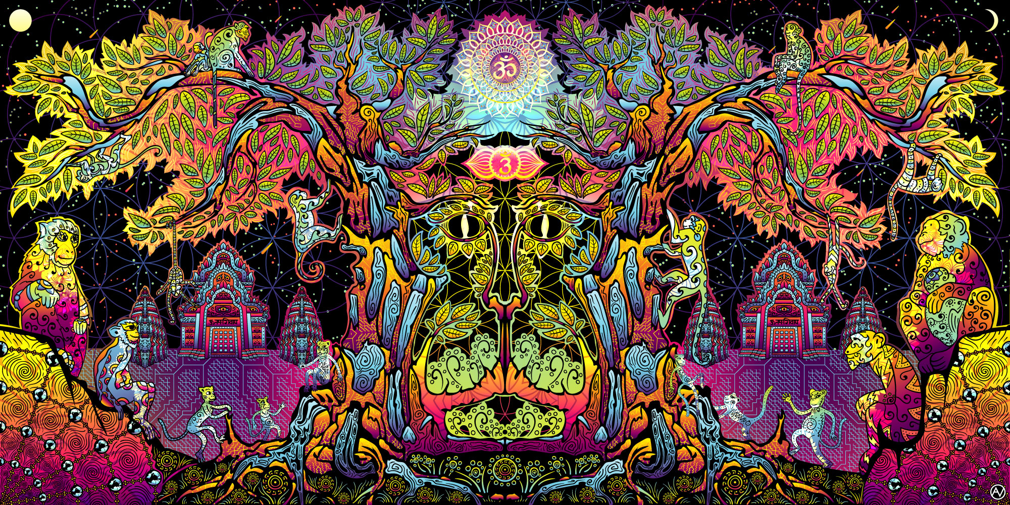 Lord Hanuman Psychedelic Art Fluorescent Design Tapestry