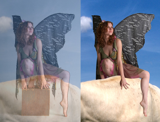 Fairy sitting on a cow with a clipping mask