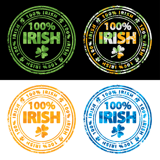 100 percent Irish stamps free vectors