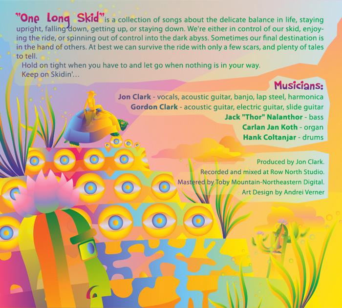Jon Clark - One Long Skid Vol.1 - album cover design - inside left