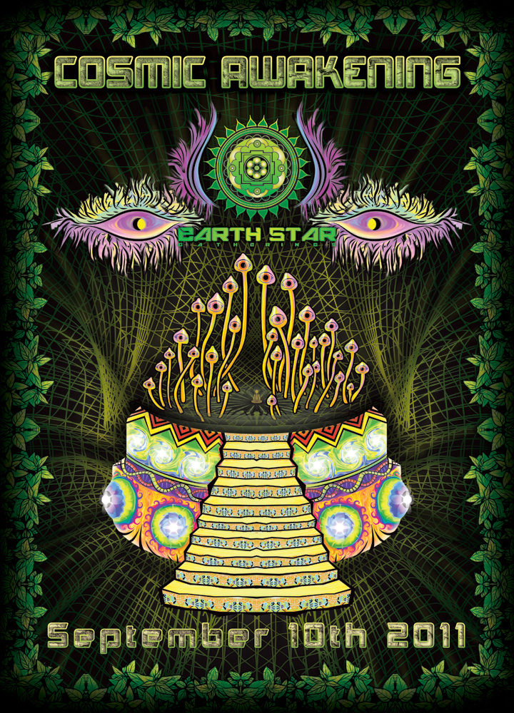 Cosmic Awakening psychedelic party flyer design 2011 by Andrei Verner