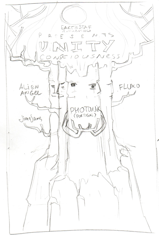 UNITY CONSCIOUSNESS psychedelic party flyer pencil sketch by Andrei Verner