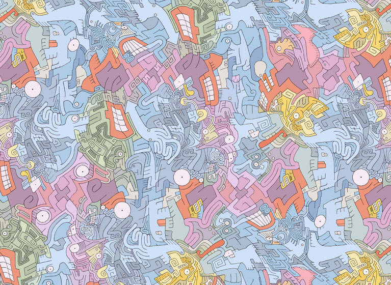 Psychedelic illustrations by Seth Fisher - Aztec