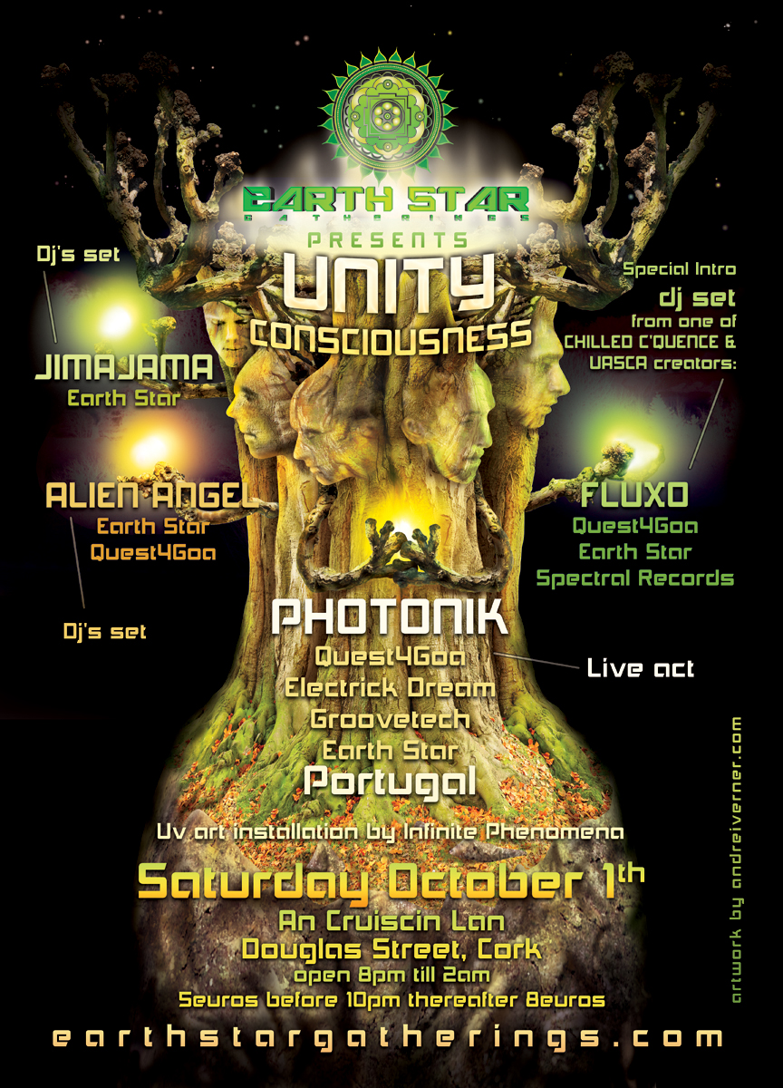 UNITY CONSCIOUSNESS psychedelic party flyer by Andrei Verner