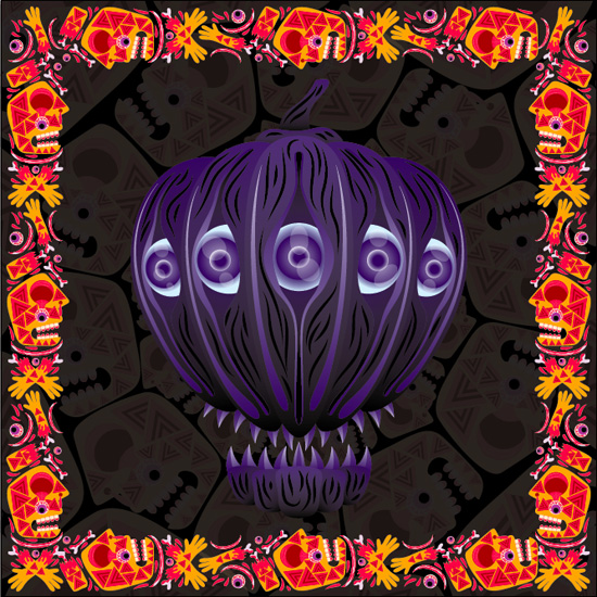 How to create a psychedelic Halloween pumpkin face in Adobe Illustrator tutorial by Andrei Verner