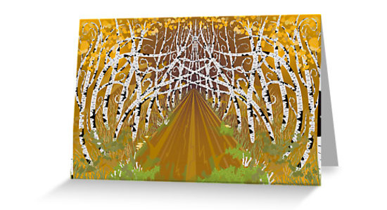 Psychedelic forest autumn highway poster, greeting card, canvas