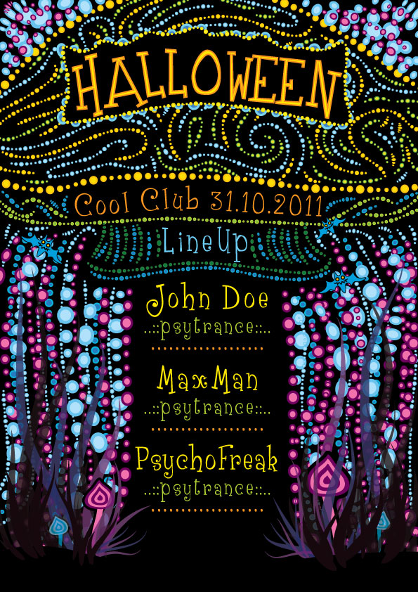 Free Psychedelic Halloween Party Flyer Template by Andrei Verner