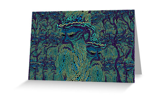 Tolstoy psychedelic wallpaper poster, greeting card, canvas