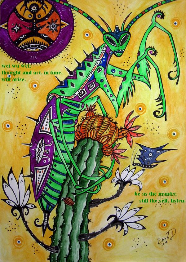 Mantis a haiga by Mrnakes