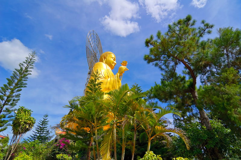 Big Golden Buddha statue in Da Lat, Vietnam