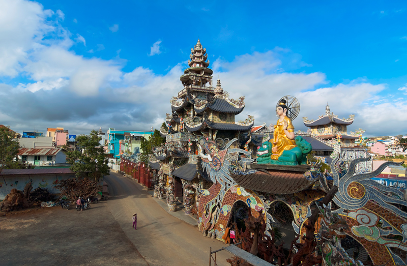 Chua Linh Phuoc Buddhist temple and statues scape near Da Lat, Vietnam