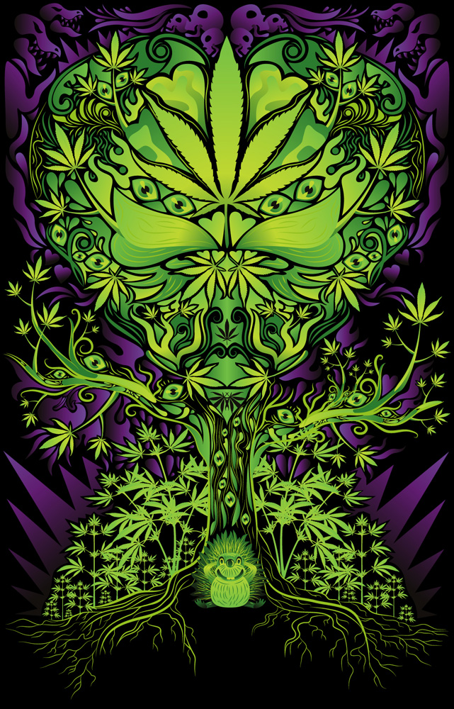 Marijuana love tree poster