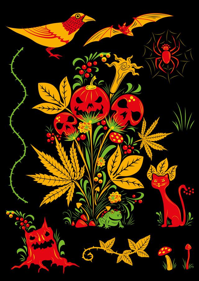 Psychedelic Halloween Khokhloma vector set