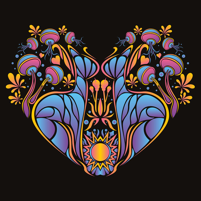 Psychedelic heart vector free stock file to download