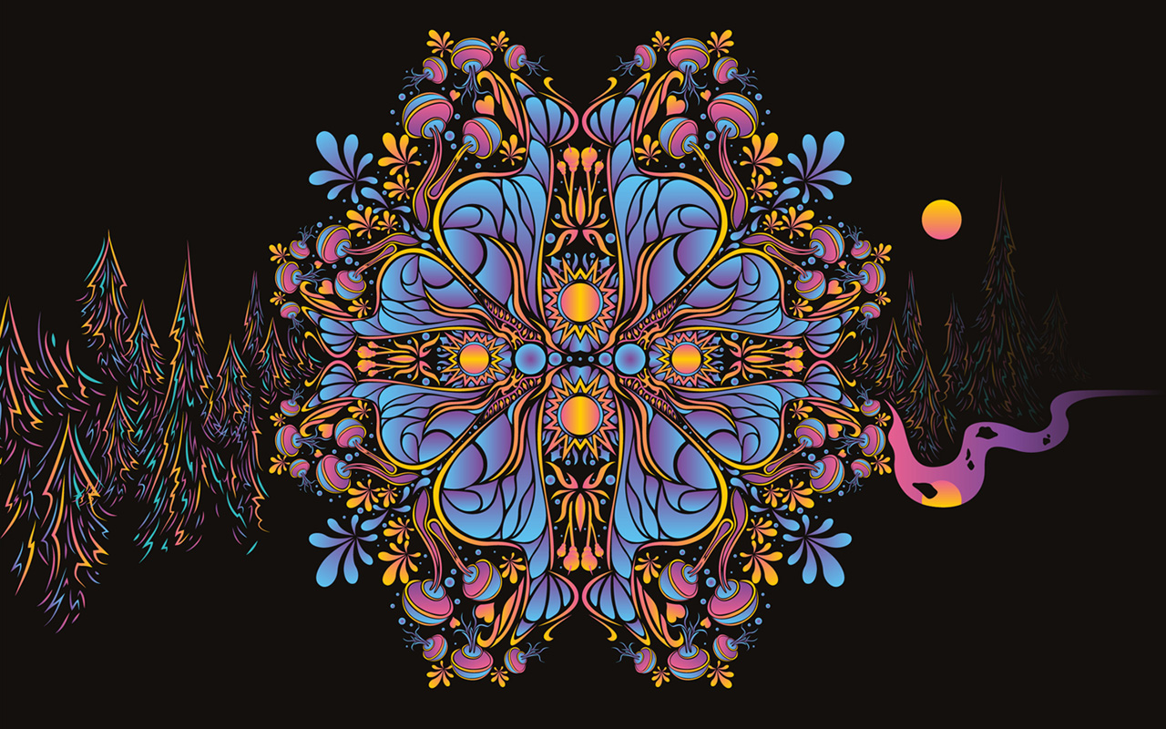 Psychedelic Valentine's Day Vector Ornaments