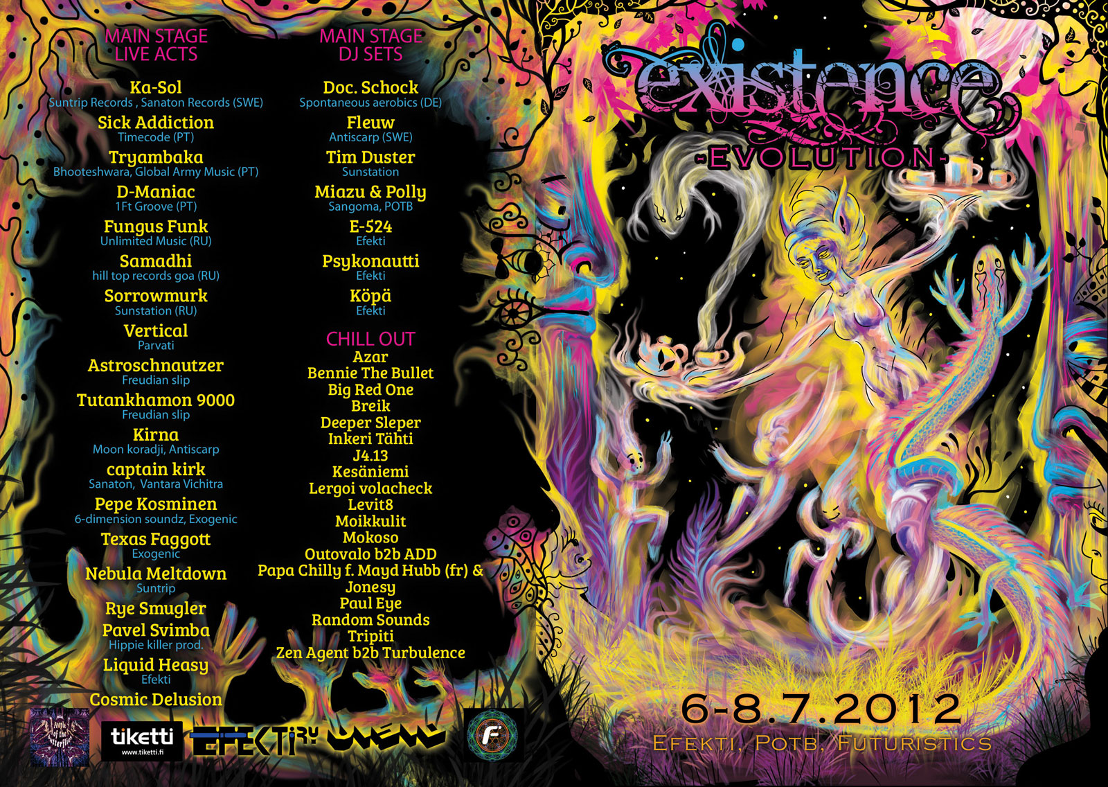 Existence festival 2012 psychedelic trance flyer design by Andrei Verner