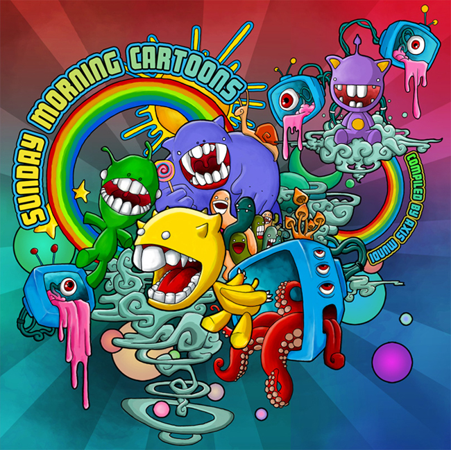 Sunday morning cartoons Psychedelic album cover by Ayalien