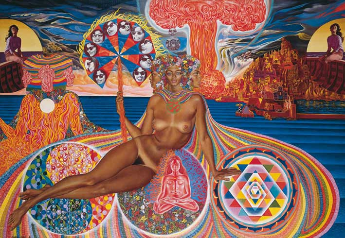 Nativity - surreal and psychedelic painting by Mati Klarwein