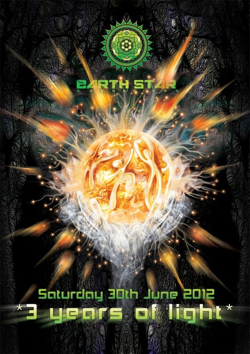 3 years of light - Earthstar psychedelic trance open air poster by Andrei Verner