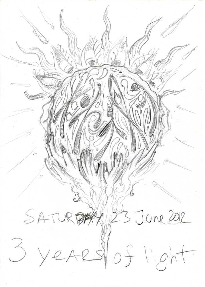 3 years of light - Earthstar psychedelic trance open air poster sketch by Andrei Verner
