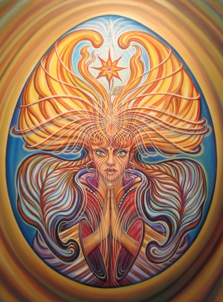 Fierce prayer - psychedelic painting by Amanda Sage