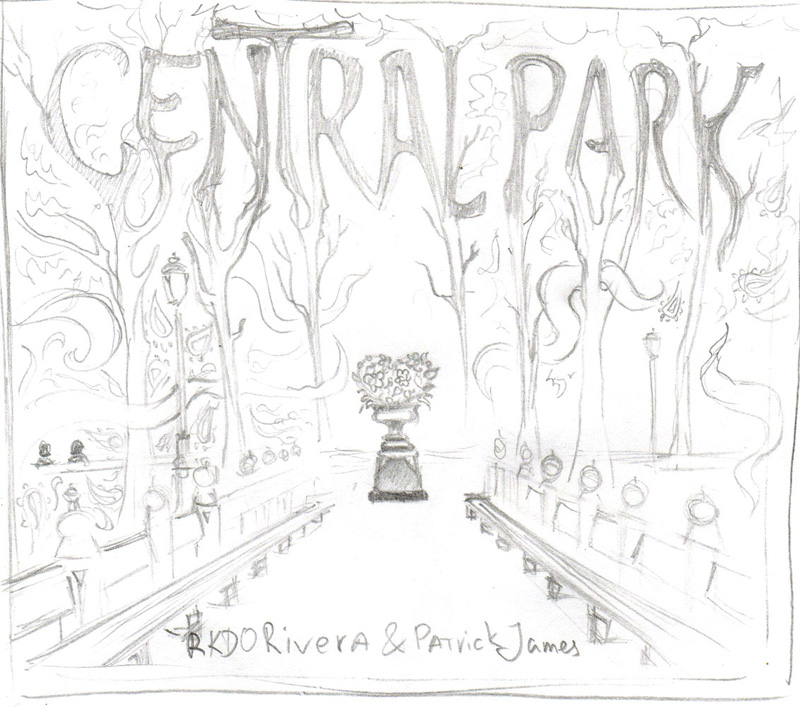 Central Park single psychedelic cover sketch by Andrei Verner