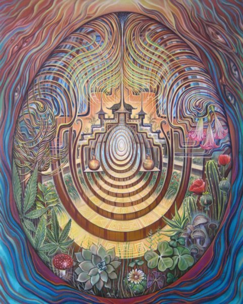 The sacred garden - psychedelic painting by Amanda Sage