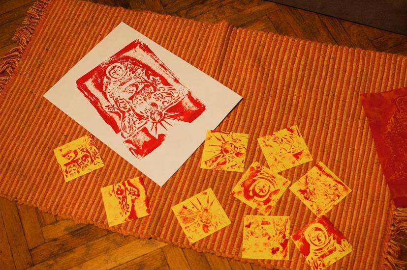 Linocut gouache print by Andrei Verner