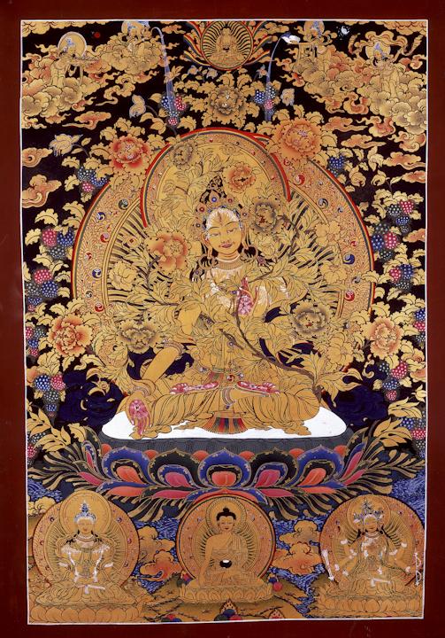 Gold Tara - Traditional Tibetan Thangka by Romio Shrestha
