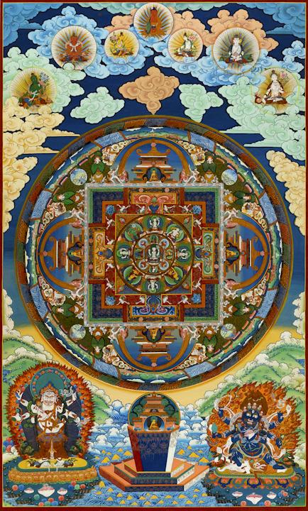 Chenresig mandala - Traditional Tibetan Thangka by Romio Shrestha