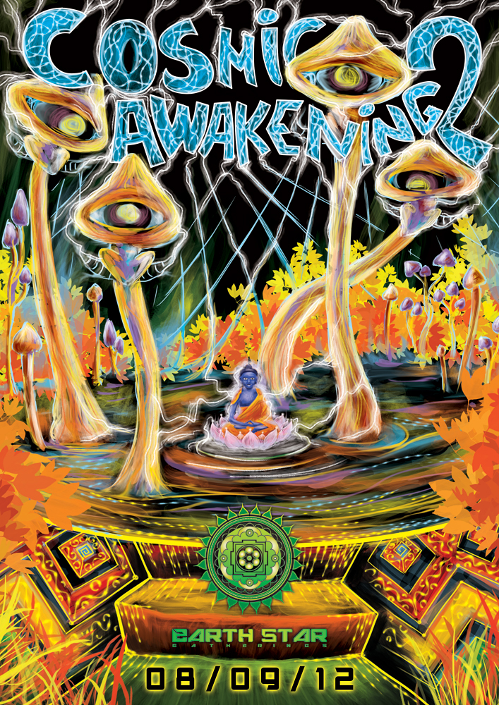 Cosmic Awakening psychedelic party flyer front 2012 by Andrei Verner