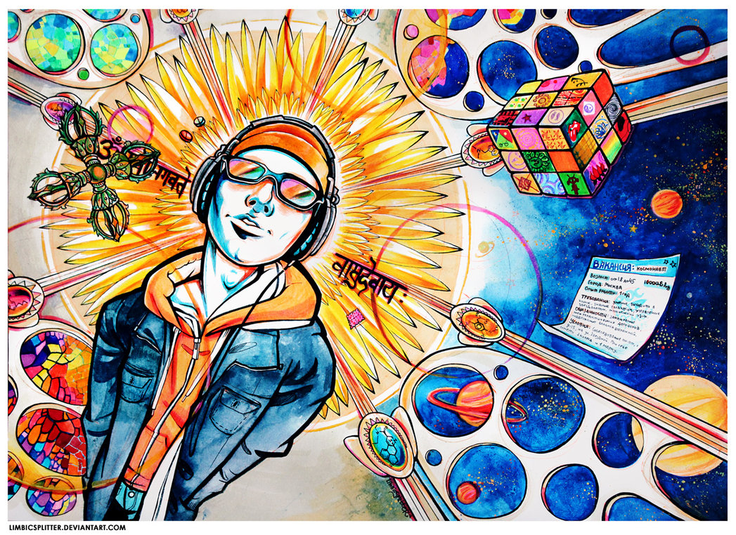 Astronaut traditional psychedelic drawing by Limbic Splitter