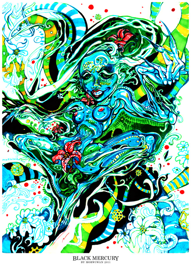 Black Mercury traditional psychedelic drawing by Limbic Splitter